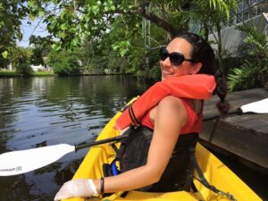 Councilwoman Vimari Roman in a kayak